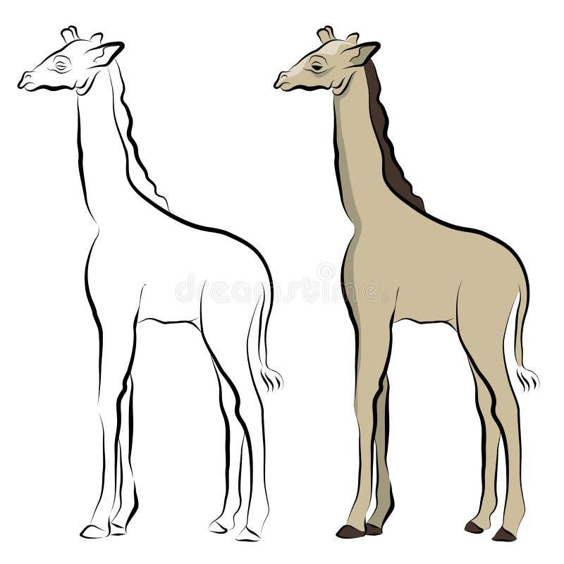 Dessin au trait giraffe illustration libre de droits