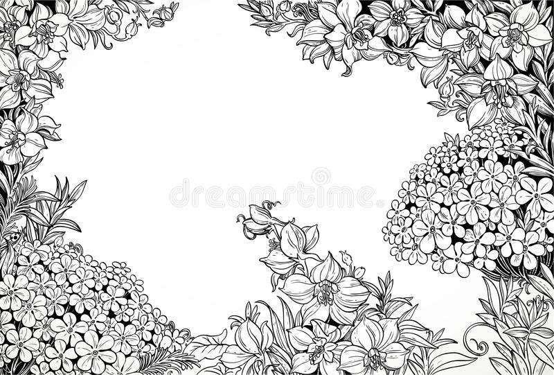 Download Dessin Au Trait Graphique Noir Et Blanc Des Wildflowers Magiques Illustration de Vecteur - Illustration du herbe, conception: 77158859