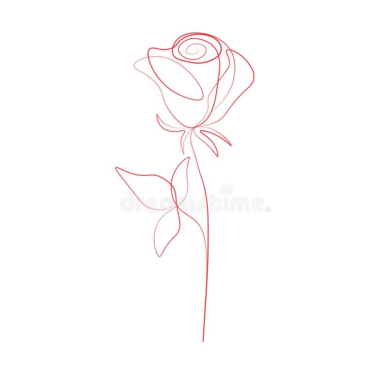 Dessin au trait impression un a monté fleur, illustration de vecteur illustration stock