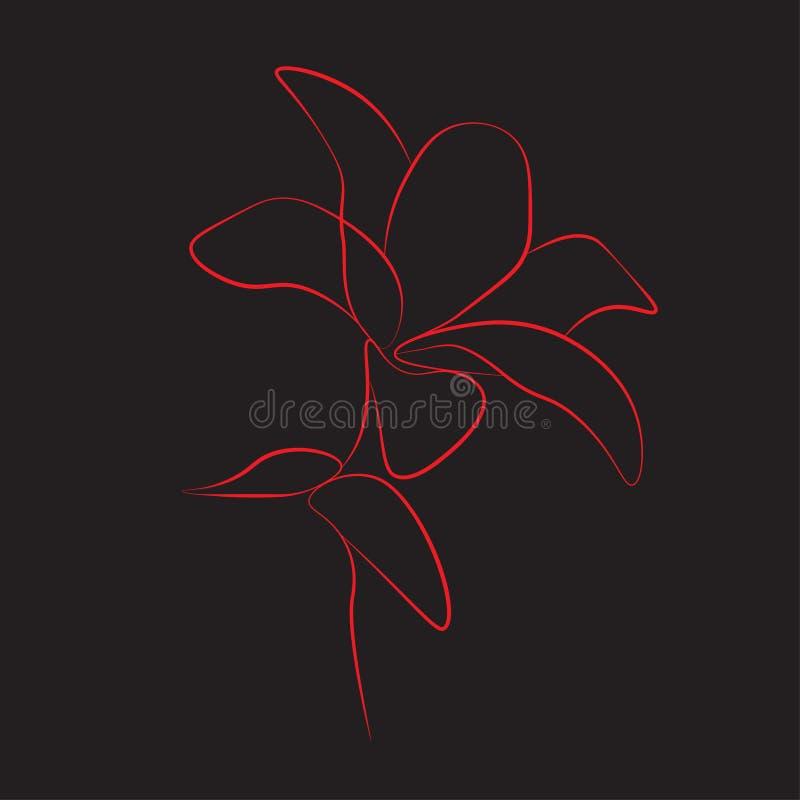 Dessin au trait impression un a monté fleur, illustration de vecteur illustration stock