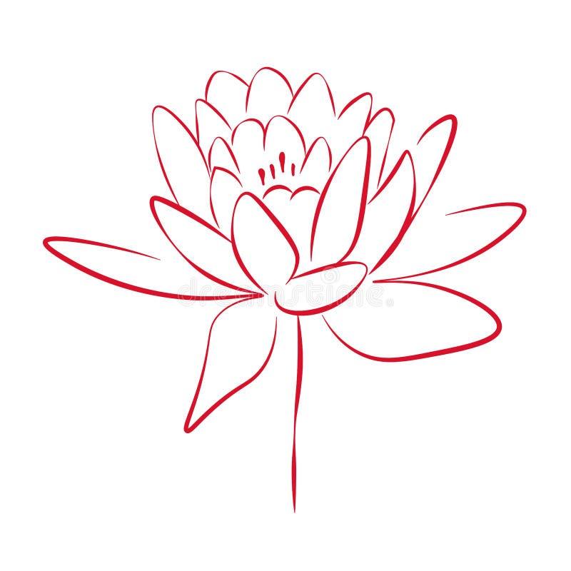 Dessin au trait impression un a monté fleur, illustration de vecteur illustration de vecteur
