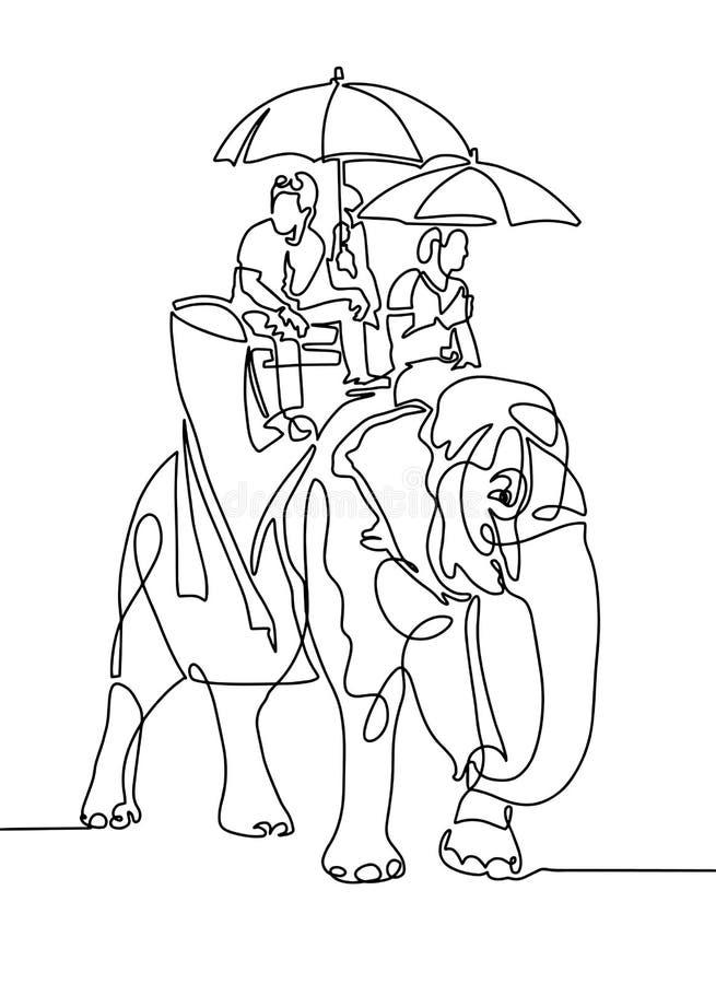 Dessin au trait - les gens sous des parapluies du soleil montent sur un EL illustration de vecteur