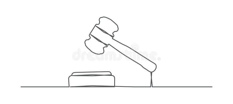 Dessin au trait marteau un de juge illustration libre de droits