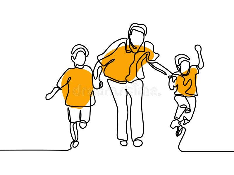 Dessin au trait p?re un avec ses enfants sur le fond blanc illustration de vecteur
