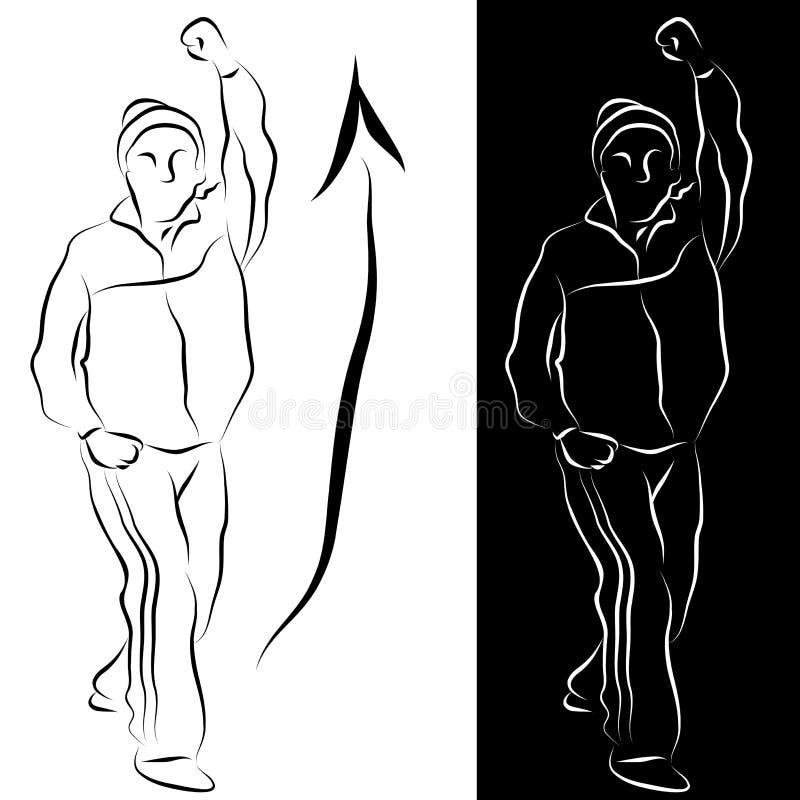 Dessin au trait s'étendant aîné exercice illustration stock