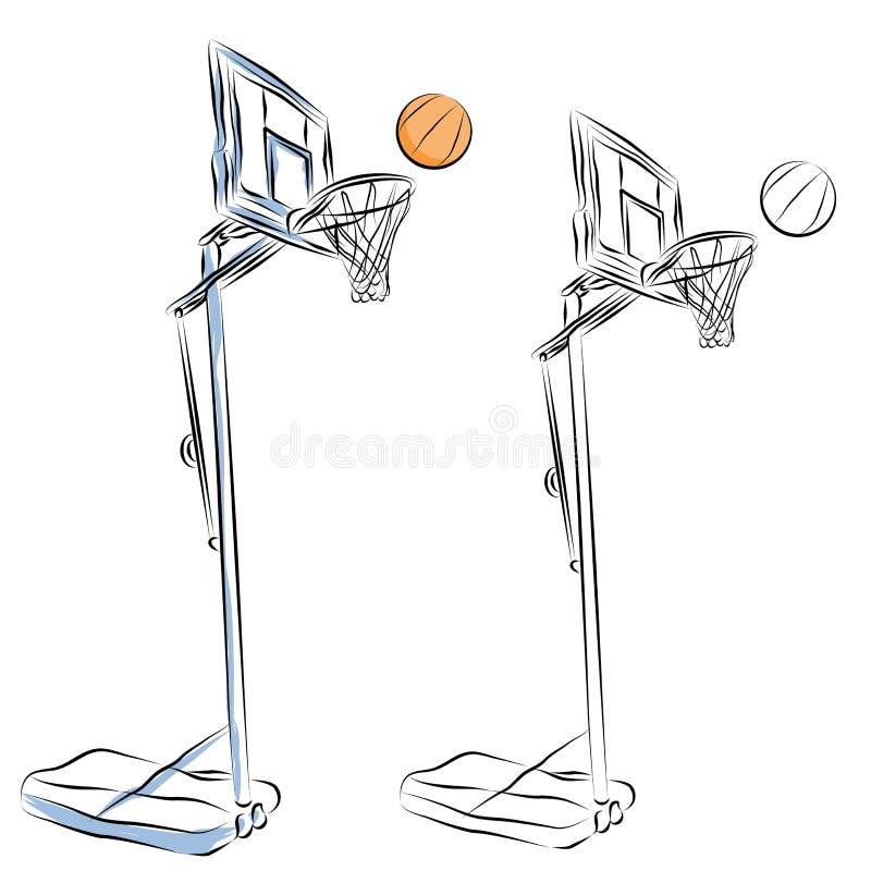 Dessin au trait stand de cercle de basket-ball illustration de vecteur