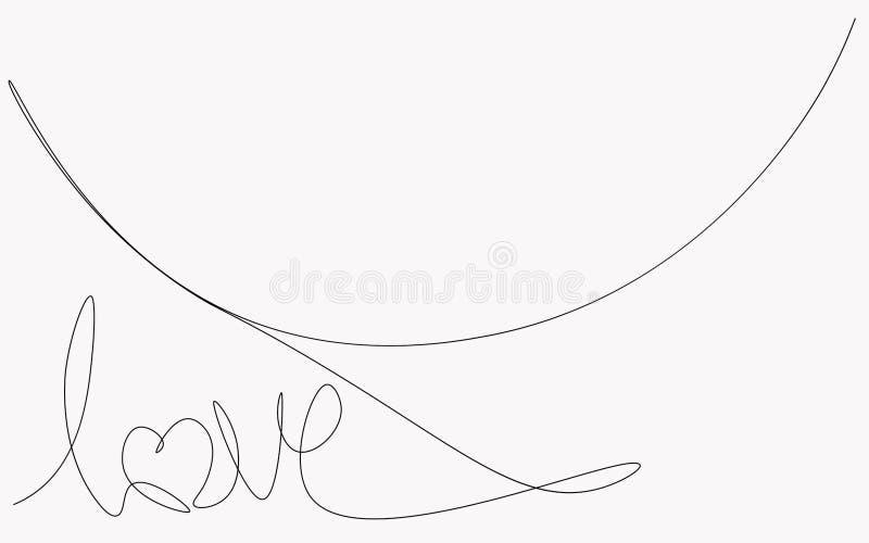 Dessin au trait, vecteur textes un de lettre d'amour de carte de jour de valentines illustration libre de droits