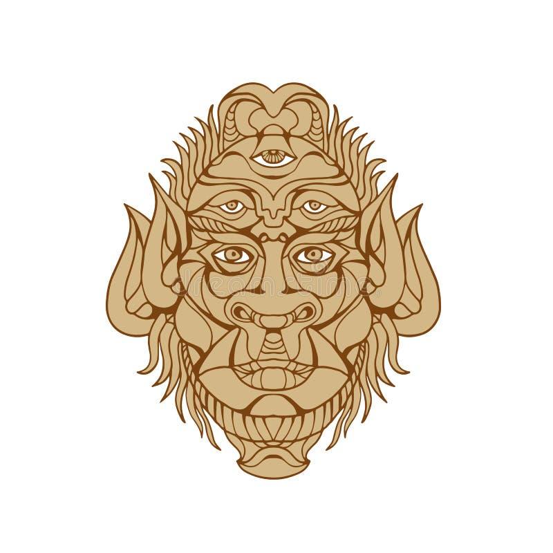 dessin aux yeux de cinq de tête de monstre illustration de vecteur