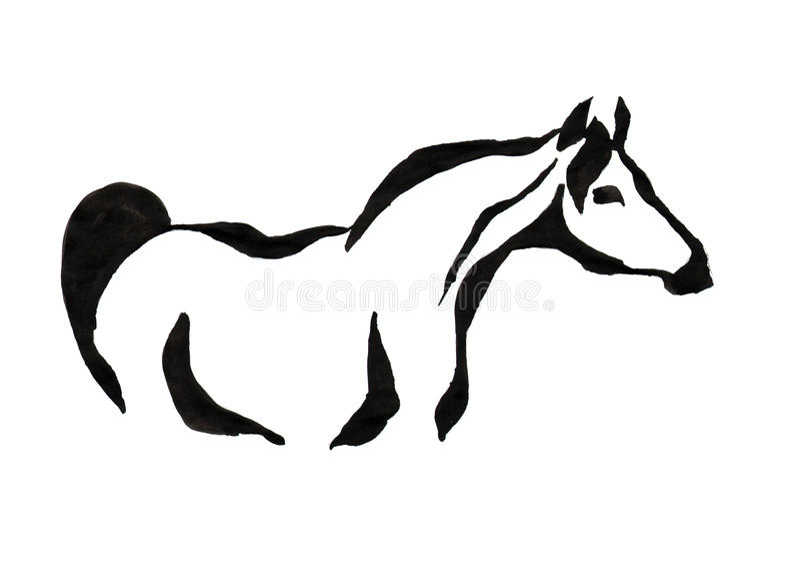 Dessin avec à l'encre noire sur le fond blanc - image stylisée d'a photographie stock libre de droits