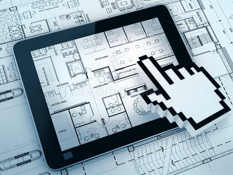 Dessin avec l'ordinateur de tablette image libre de droits