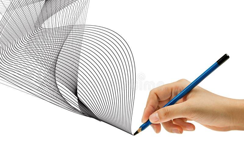 Dessin avec le crayon à disposition photos libres de droits