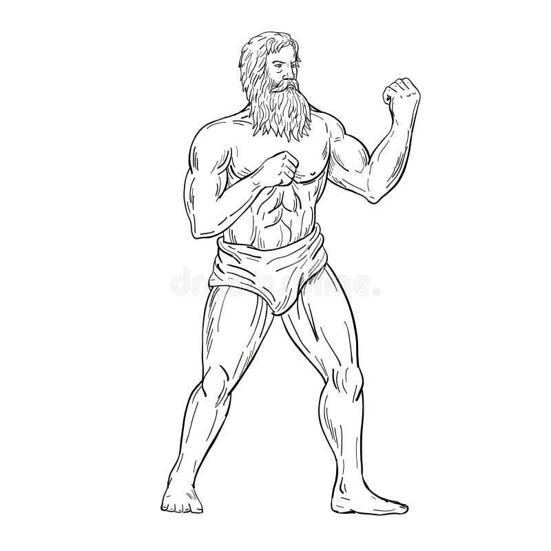 Dessin barbu de position de combat de boxeur noir et blanc illustration stock