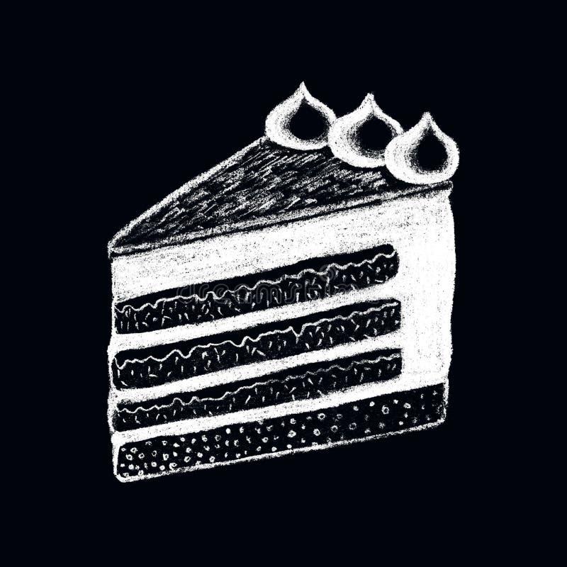 Dessin blanc de morceau de gâteau de craie sur le tableau noir Illustration douce de griffonnage de morceau de tarte illustration libre de droits