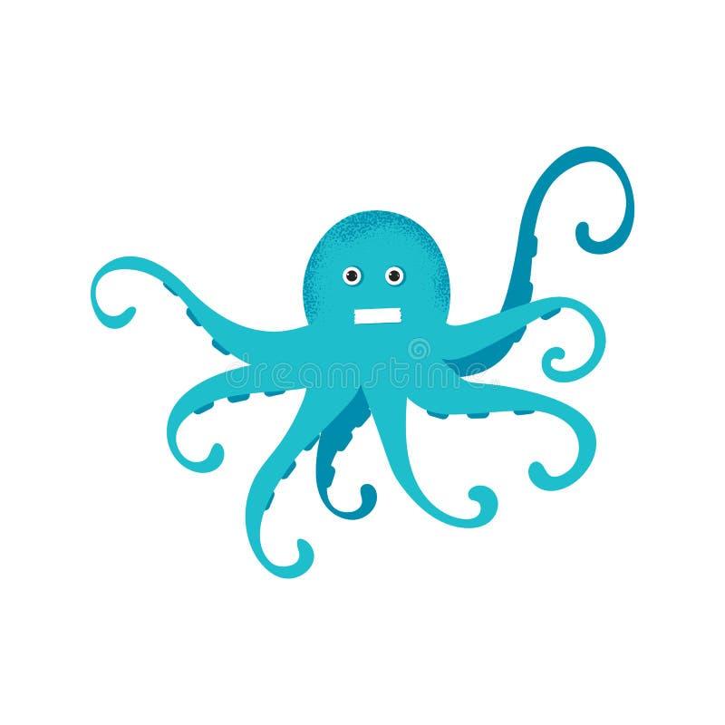 Dessin bleu de poulpe de bande dessin?e mignonne Illustration de sourire dr?le de vecteur de caract?re de poulpe illustration de vecteur