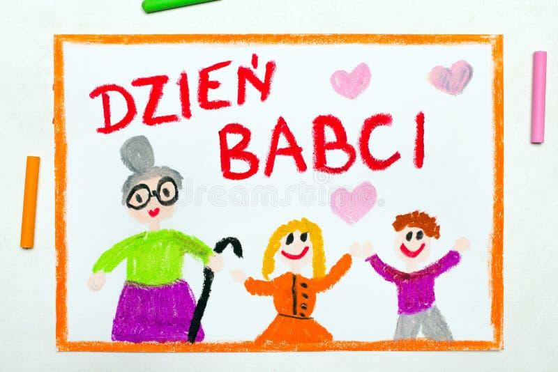 Dessin color? : Carte polonaise de jour de grands-m?res photo stock