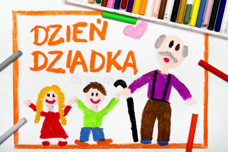 Dessin coloré : Carte première génération polonaise de jour du ` s illustration de vecteur