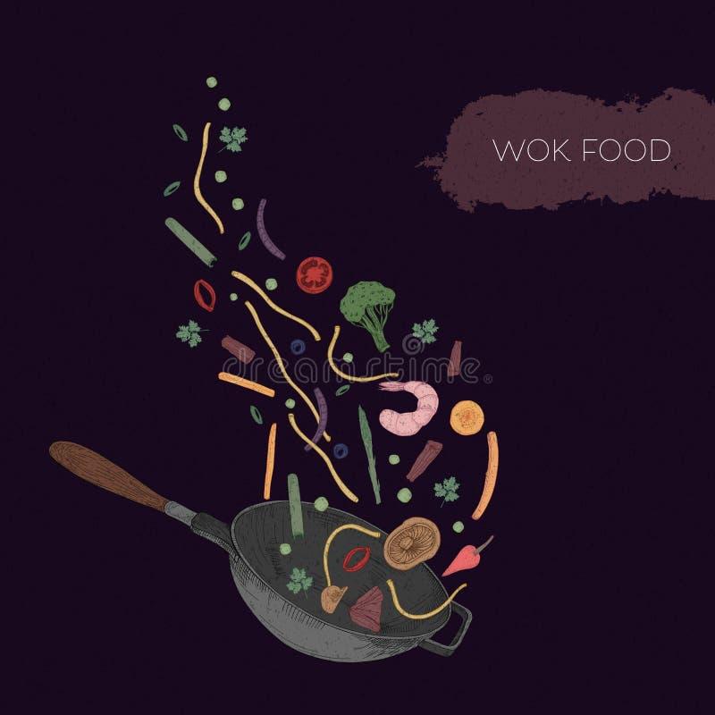 Dessin coloré détaillé de wok et de fruits de mer, légumes, champignons, nouilles illustration de vecteur
