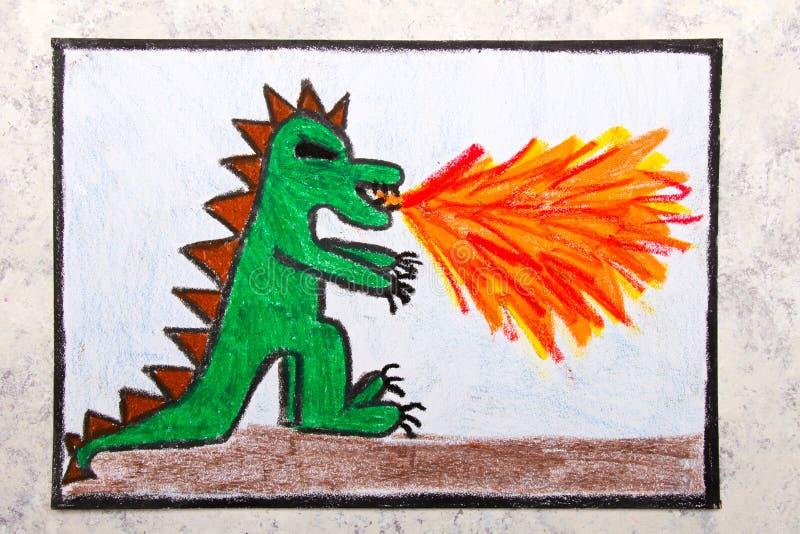 Dessin coloré de main : le feu de crachement de dragon Dragon de respiration du feu illustration stock