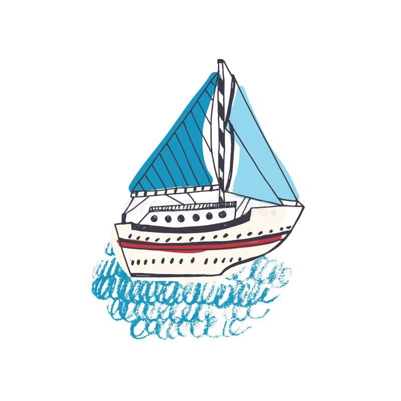 Dessin coloré de paquebot, de bateau à voile ou de navire marin avec la voile en mer Voilier dans le voyage ou le voyage d'océan illustration de vecteur