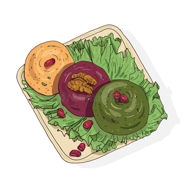 Dessin coloré de Pkhali délicieux se trouvant du plat Repas géorgien végétarien appétissant fait de légumes et noix illustration de vecteur