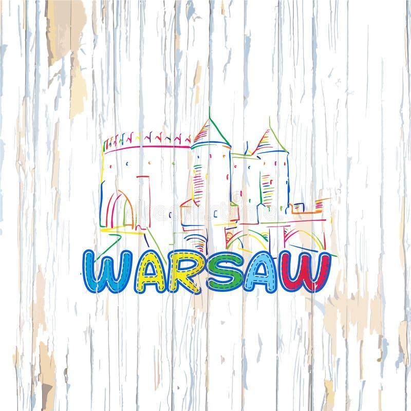 Dessin coloré de Varsovie sur le fond en bois illustration de vecteur