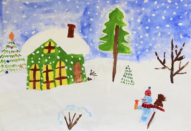 Dessin coloré des maisons se tenant sur les collines et les chutes de neige neigeuses image libre de droits