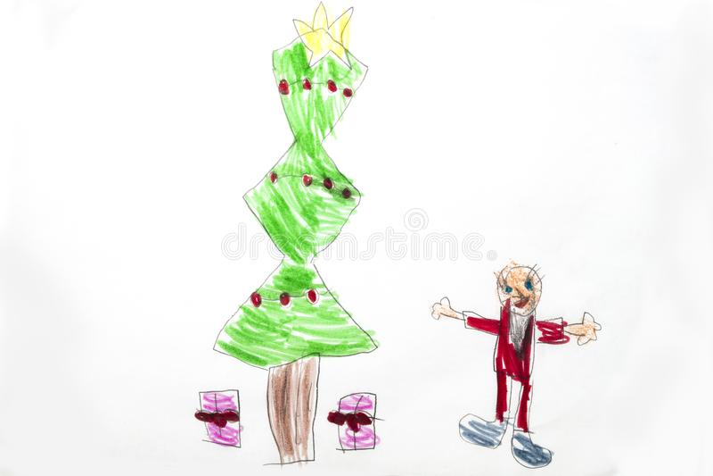 Dessin coloré du ` s d'enfant d'arbre de Noël avec des présents illustration libre de droits
