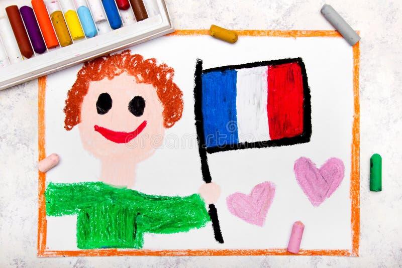 Dessin coloré : Homme heureux tenant le drapeau français photographie stock libre de droits