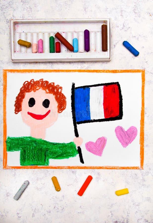 Dessin coloré : Homme heureux tenant le drapeau français photo stock
