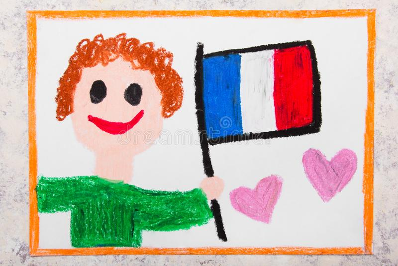 Dessin coloré : Homme heureux tenant le drapeau français indicateur France photo libre de droits