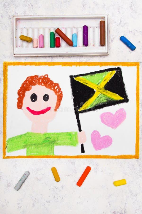 Dessin coloré : Homme heureux tenant le drapeau jamaïcain photographie stock
