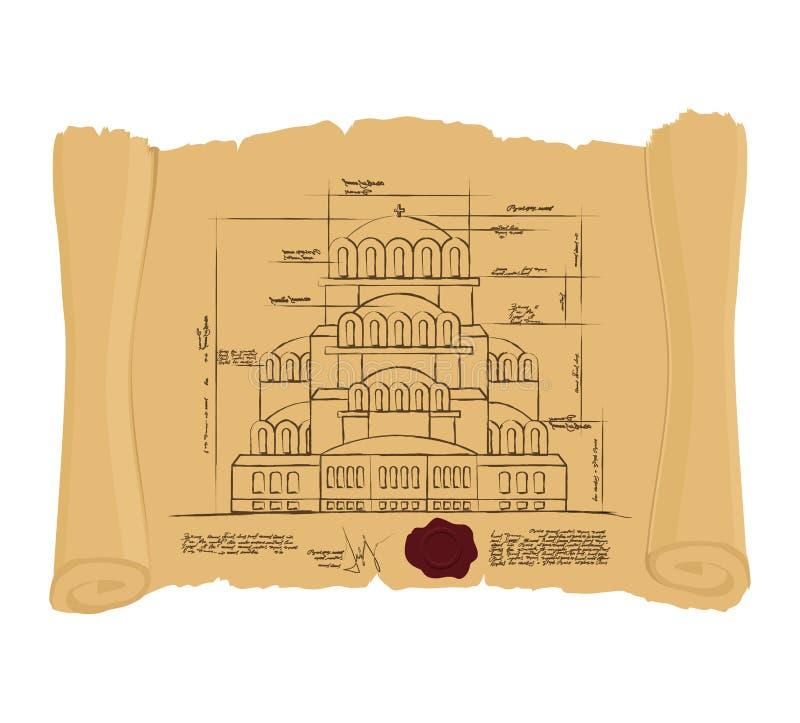Dessin d'église de St Alexander Nevsky de rouleau antique Rouissez illustration libre de droits