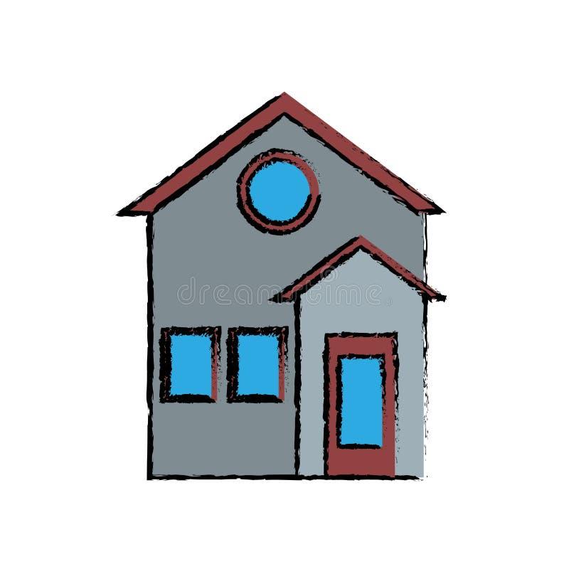 dessin d 39 tude r sidentiel de fa ade de maison de famille illustration de vecteur illustration. Black Bedroom Furniture Sets. Home Design Ideas