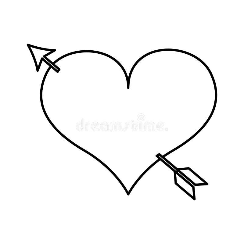 dessin d 39 amour de coeur avec l 39 ic ne de fl che illustration stock illustration du heureux. Black Bedroom Furniture Sets. Home Design Ideas