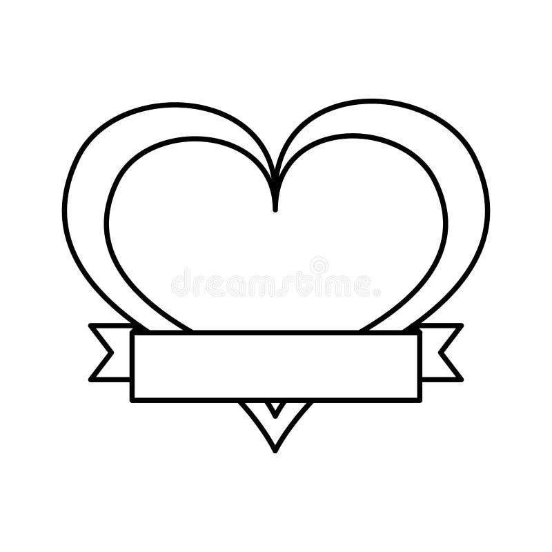 Dessin d 39 amour de coeur avec l 39 ic ne de ruban illustration - Dessin d amour ...