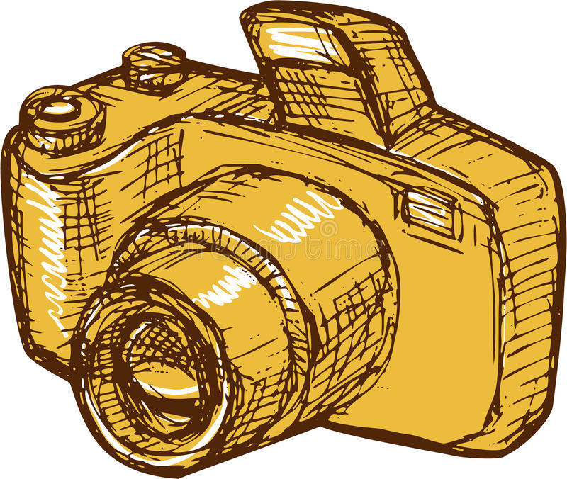 Appareil-photo Digital De Dessin De SLR Illustration Stock - Illustration du croquis, isolement ...