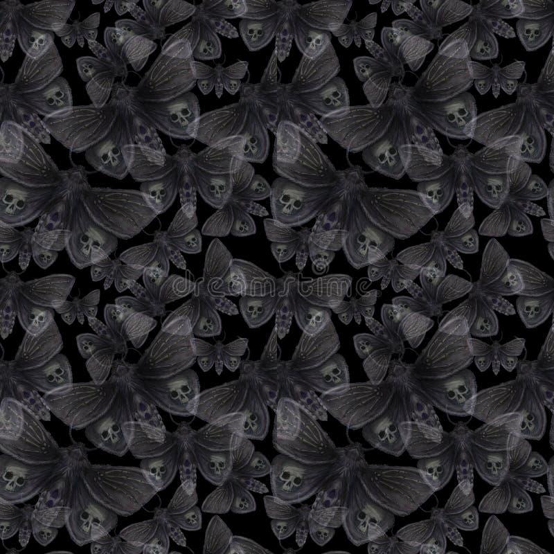 Dessin d'aquarelle d'un papillon de nuit de papillon, d'un papillon terrible des vacances de Halloween avec un crâne sur ses aile illustration libre de droits