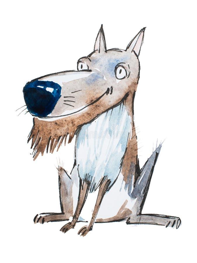 Dessin d'aquarelle de chien ou de loup de sourire drôle de bande dessinée avec la barbe de fourrure tirée par la main illustration stock