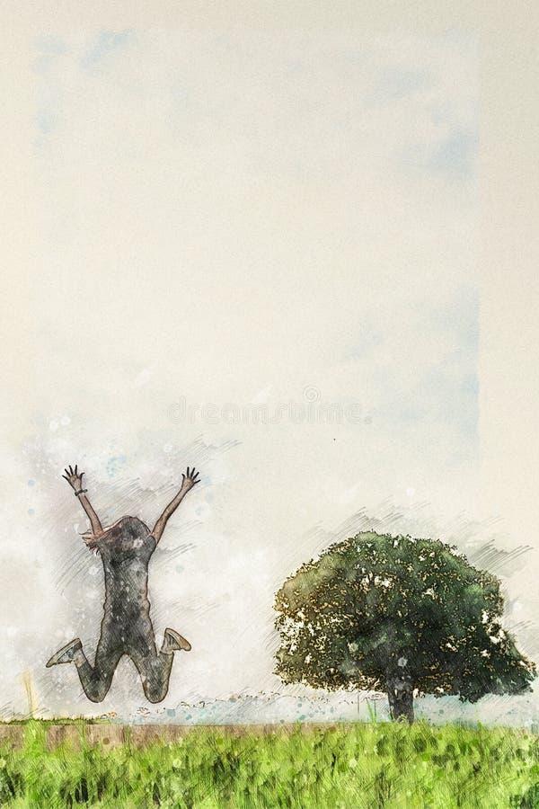 Dessin d'aquarelle de Digital de personne sautant par-dessus le champ d'herbe avec le seul arbre de support illustration de vecteur