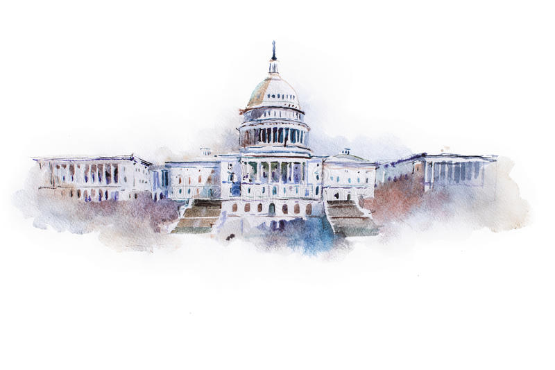 Dessin d'aquarelle de la maison blanche dans DC de Washington photos libres de droits