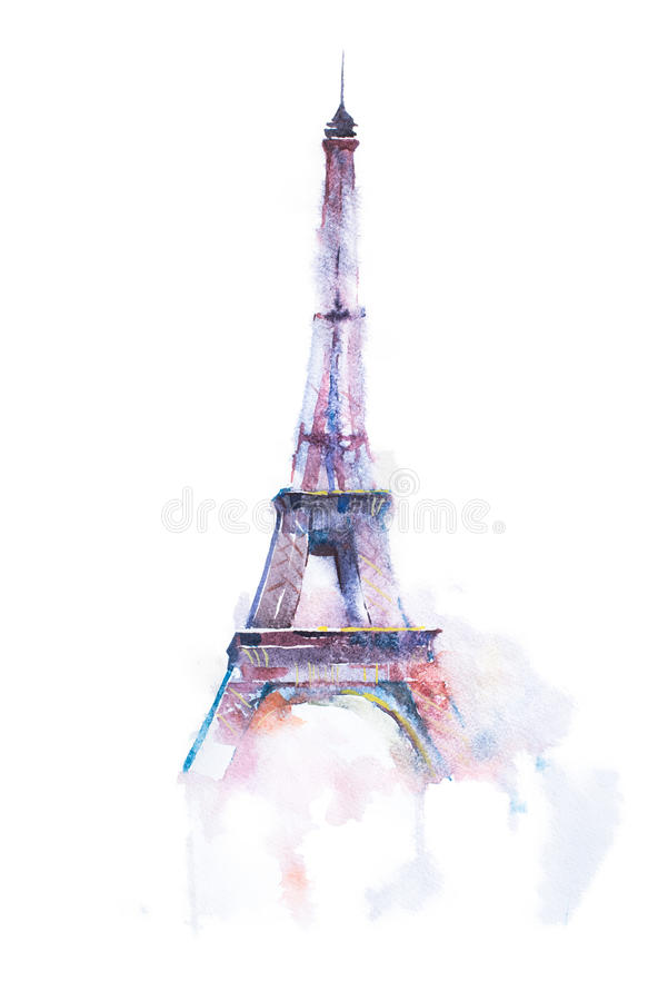 Dessin d'aquarelle de Tour Eiffel à Paris sur le fond blanc illustration de vecteur