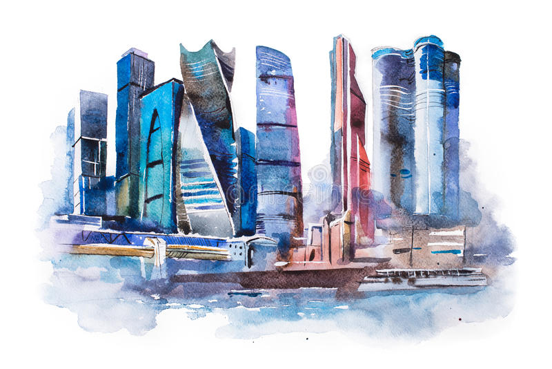 Dessin d'aquarelle de ville de Moscou Peinture internationale d'aquarelle de centre d'affaires illustration de vecteur