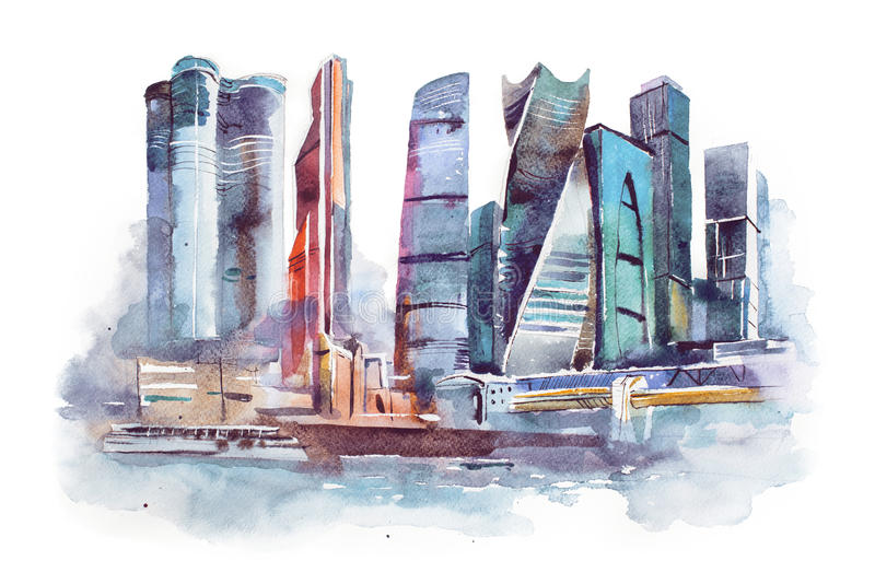 Dessin d'aquarelle de ville de Moscou Peinture internationale d'aquarelle de centre d'affaires illustration libre de droits