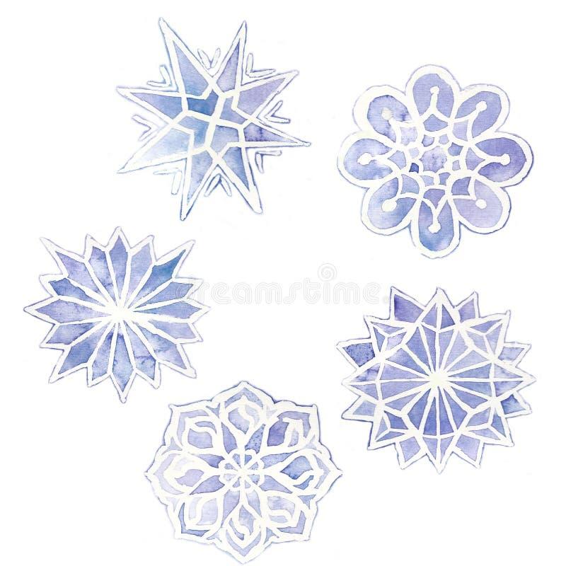 dessin d'aquarelle des flocons de neige, ensemble de 6 flocons de neige, pourpre sur un blanc illustration libre de droits