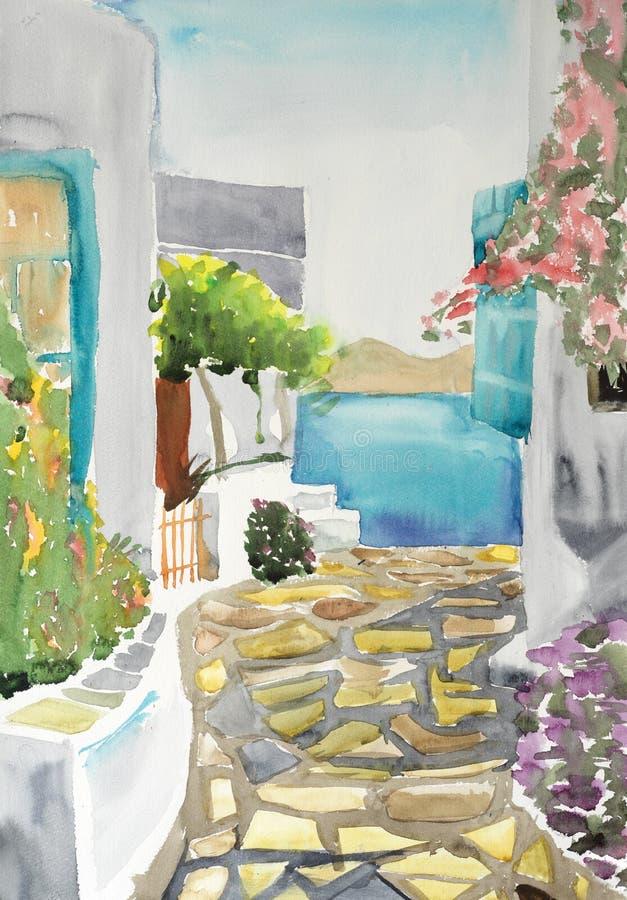 Dessin d'aquarelle et peinture de village de grecce photos stock