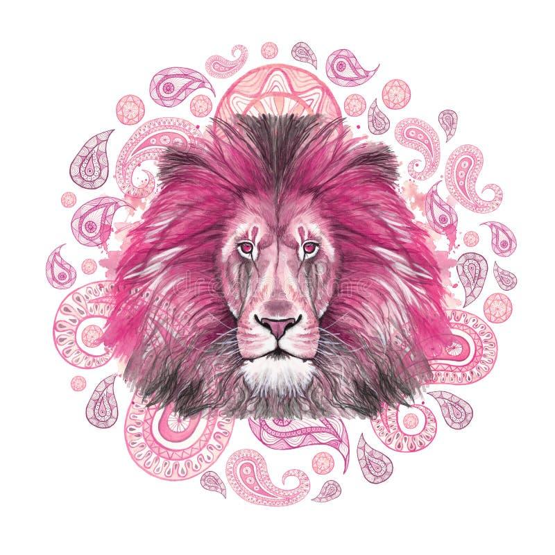 Dessin d'aquarelle d'un animal d'un lion prédateur et rose mammifère, crinière rose, lion-roi des bêtes, portrait de grandeur, fo illustration stock