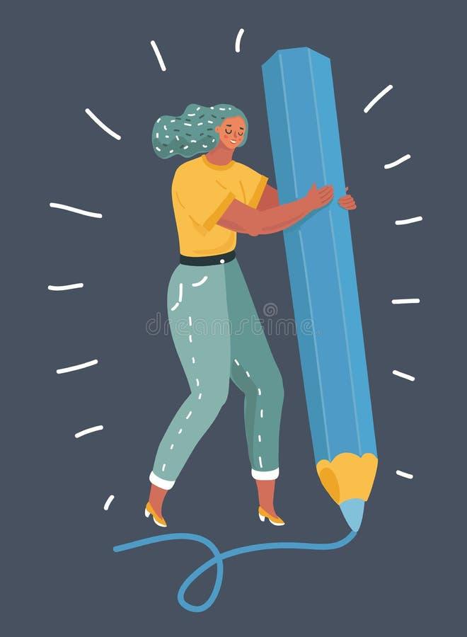 Dessin d'artiste de femme sur le fond foncé illustration libre de droits