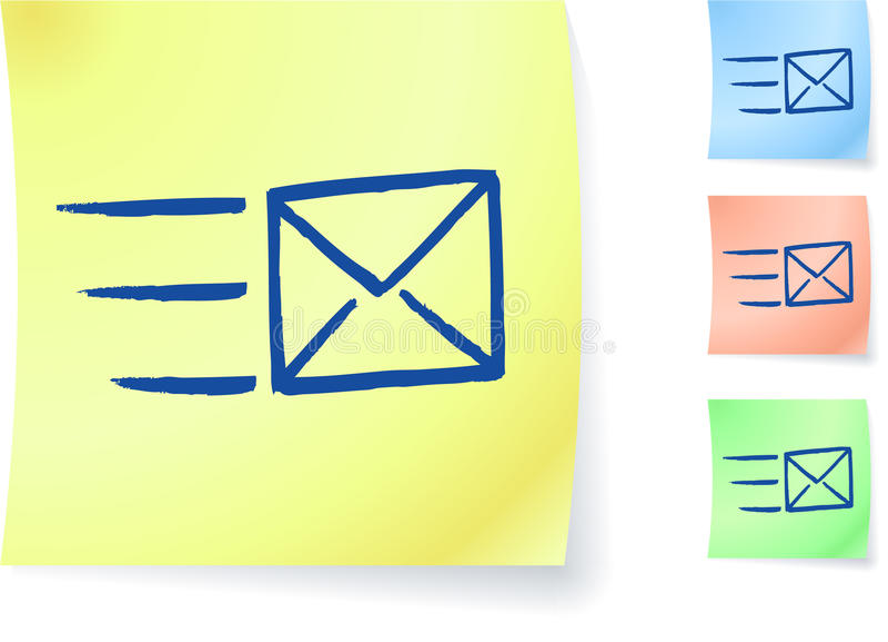 Dessin d'email sur la note collante illustration stock