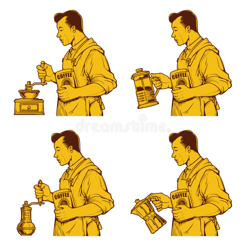 Dessin d'encre de café de vintage illustration libre de droits