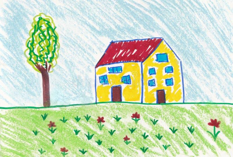 Dessin d'enfant d'une belle journée de printemps devant la maison illustration de vecteur